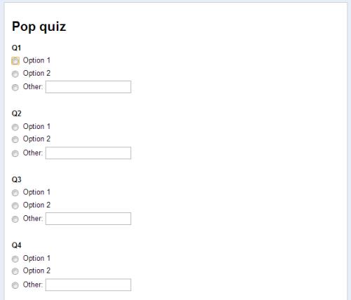 Google form questions